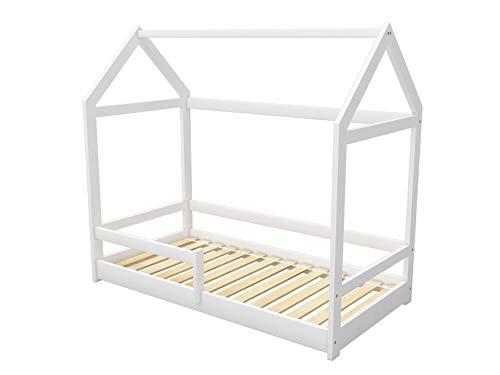 ACMA Kinderbett Kinderhaus Kinder Bett Holz Haus Schlafen Spielbett Hausbett 2 - Massivholz (Weiß, 80 x 160 cm)