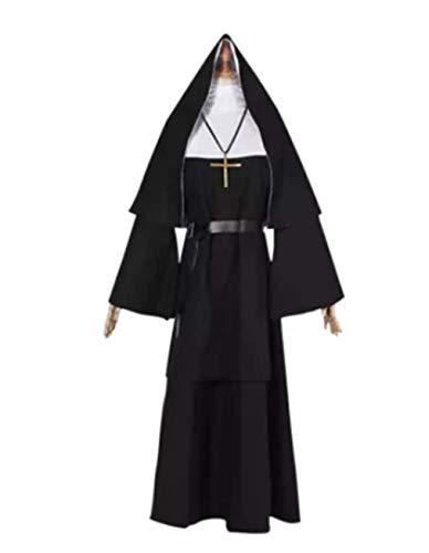 qingning 2018 Nun Nonnen Kostüm Maske Halloween Kopfbedeckung Mit Schleier Cosplay Kleid (A-Nun Kostüm, ()