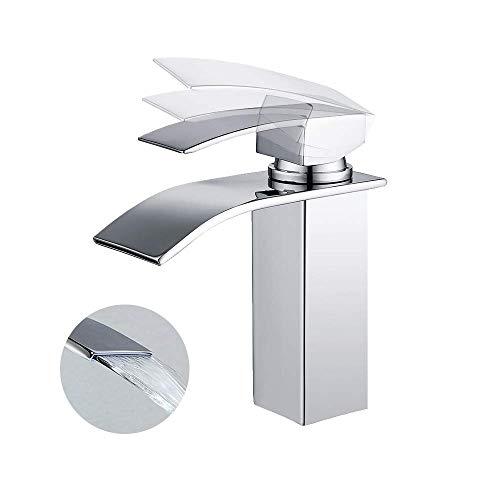 HOMELODY Grifo Lavabo Cascada para Baño Monomando de Lavabo Monomando Baño Grifo Baño Grifo de Cuenca grifería lavabo y Baño