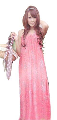 QIYUN.Z Femmes Floral Extensible Bracelet Sexy De Robe De Plage De Soleil Tout Au Long De La Boheme Maxi Boho Partie Rouge