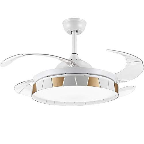 RXM 72W De Intensidad Regulable Techo Luces LED Del Ventilador Retráctil De 4 Hojas Inicio Salón Comedor...