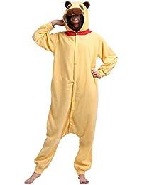 Unisex Animal Pijama Ropa de Dormir Cosplay Kigurumi Onesie Pug Amarillo Disfraz para Adulto Entre 1