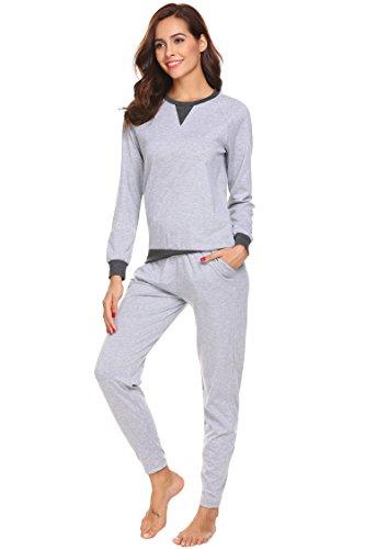 ADOME Damen Zweiteiliger Schlafanzug Langarm Pyjama Freizeitanzug Hausanzug Anzug Lang