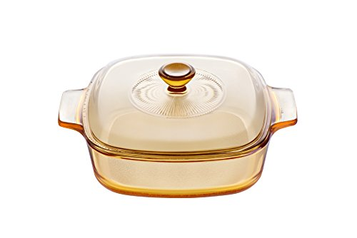 Visions 1 Litre Pyroceram Reverse Square Casserole with Glass Cover, Brown