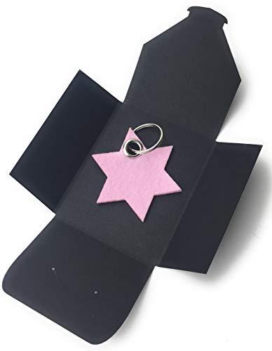filzschneider Schlüsselanhänger aus Filz - 6eck-Stern - rosa - als besonderes Geschenk mit Öse und Schlüsselring - Made-in-Germany