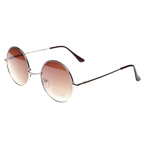 Morefaz - Gafas redondas estilo John Lennon, años 50, hippie, diseño retro blanco marrón