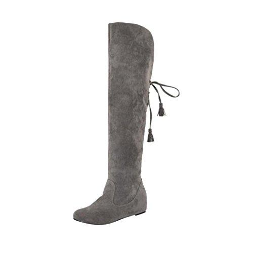 Botas altas de mujer Amlaiworld Botas calientes de felpa de invierno para mujer Calzado mujer invierno zapatos de plataforma cálidas Botas de nieve Zapatos interiores (Gris, 38)