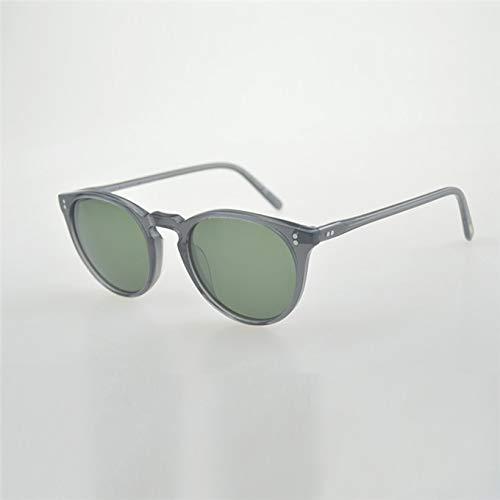 LKVNHP Hohe Qualität Unisex Retro Sonnenbrille Marke Oculos De Sol Oval Runde Sonnenbrille Sonnenbrille RahmenGrau Vs Grün