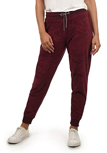 DESIRES Nikita Damen Sweathose Velours-Sweatpants Relaxhose Regular- Fit, Größe:S, Farbe:Wine Red (0985)