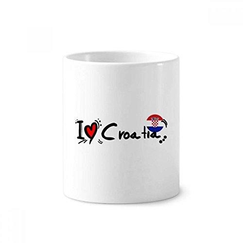 DIYthinker Ich liebe Kroatien Wort Flag Love Heart Illustration Keramik Zahnbürste Stifthalter...