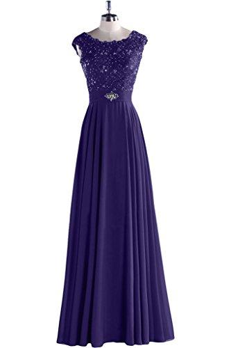 Toscana sposa Modern a linea & Chiffon girocollo pizzo lunghi sera party ballo vestiti Violett