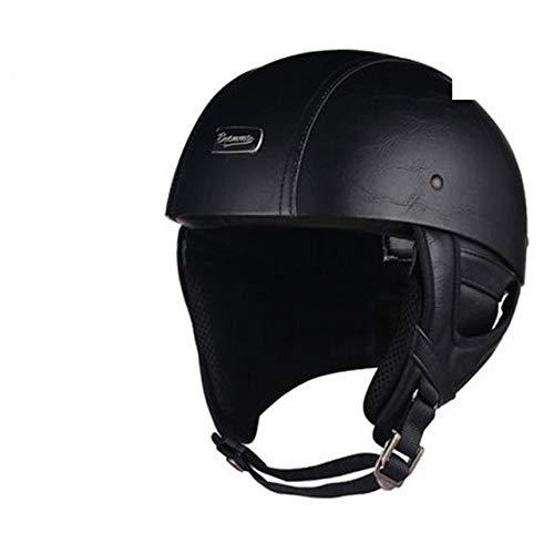 Bruce Dillon Casco de Moto Retro Half Face Casco Retro German StyleCruiser Negro Cuero-Goggle...