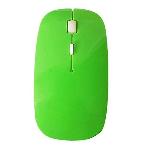Gemini _ Mall® Kabellose Maus, 2,4G Slim Silent Click USB Mäuse Symmetrische Optische Notebook PC Computer schnurlose Maus Mini mit Nano Empfänger für Windows7/8/10/XP MAC vista7/8Linux MacBook grün grün
