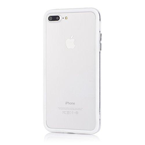 Bumper Case Cover für Apple iPhone 7 Plus (5,5 Zoll) - Schutzhülle für den Rand aus PC mit Dämpfern aus Silikon in schwarz macht den Rahmen besonders leicht und dünn - iPhone7 Plus Hülle Tasche Schale weiß