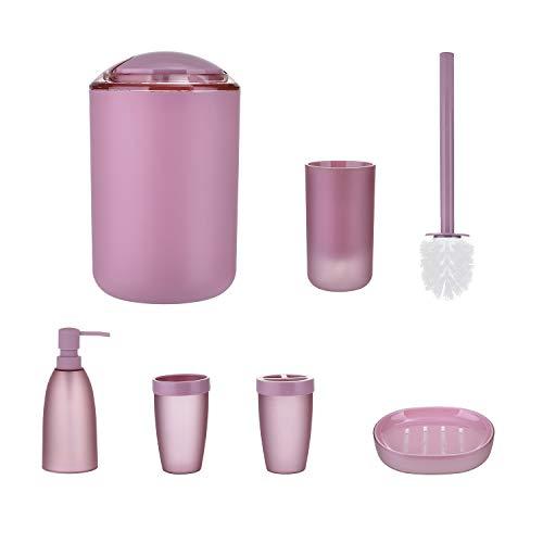 jycra, 6Stück, modernes Design, das Badezimmer Zubehör-Set, Kunststoff und Zahnbürstenhalter, Zahn, die Lotion-Spender, Becher, Seifenschale, WC-Bürste und Mülleimer, für Badezimmer, plastik, rose, As shown