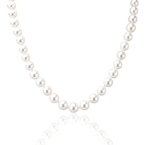 Qualität Shell Pearl Halskette Perlen Perlen Perle Kette, 45,7cm weiß vergoldet Schraube Verschlüsse (Perlenketten Fake)