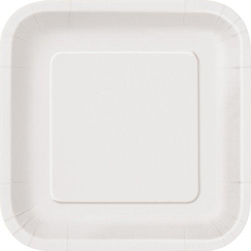 Unique Party 31053 - Paquet de 16 Assiettes Carrées en Carton - 18 cm - Blanc