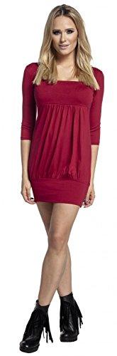 Glamour Empire. Damen Tunika-Kleid Ballonsaum 3/4 Ärmeln Eckigem Ausschnitt. 954 Purpur
