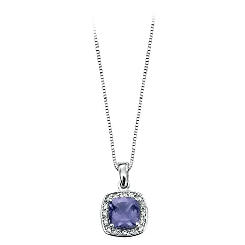 Diamond (0.064ct) And Iolite Set 9ct White Gold Pendant Complete With A 16-18 Inch Necklace.