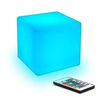NOBLJX LED Nachtlicht Kinder-Mood Lichtwürfel mit Fernbedienung 16 Kinds von Adjustable RGB Color 4 Kinds of Colorful Gradient Mode USB wiederaufladbar,20x20x20cm
