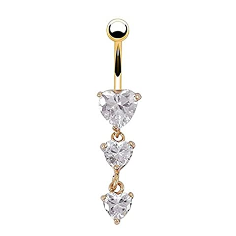 BODYA Clear Heart Crystal Navel Ring Dangle Belly Button Bar Ring Body Piercing for Women Ladies Girls