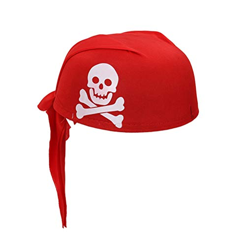 Amosfun Piratenhut Halloween Maskerade Cosplay Party Decor DIY Kostüm Zubehör (rot)