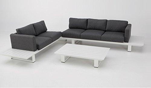 Sofa Rinconera terraza lamas blanco cojines gris oscuro Jambo