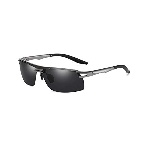 FGRYGF-eyewear2 Sport-Sonnenbrillen, Vintage Sonnenbrillen, Mens Vintage TR90 HD Polarisiert Sunglasses Night Vision Retro Sun Glasses Spiegel Lens Driving At Night For Men Women UV400 Gun Grey