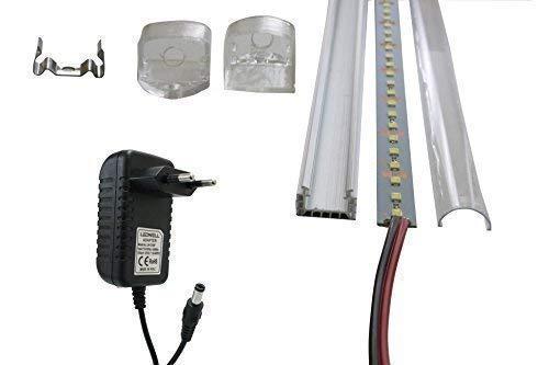 LED Streifen 1m Strip 72 SMD LEDs Warmweiß Kaltweiß Unterbaubeleuchtung Aluminium Profil Alu Leiste Schiene 1m 12V DC Netzteil Adapter Trafo LED Stripe Set LED + Rahmen + Netzteil Warmweiß 1x 1m 12v Led Strip