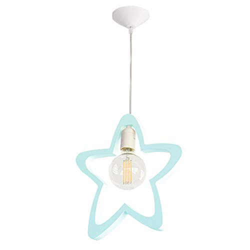 Bainba Lampe suspendue, Motif à étoiles, E27, Classe énergétique A++, 42 x 27,5 cm, bleu 42 x 27.5 cm Menthe (menta)