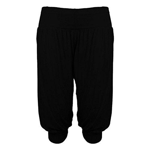 (FF11) Donna 3/4 Harem Ali Baba Larga Pantaloni Larghi Tuta Corto Da Donna Pantaloncini Leggings Black