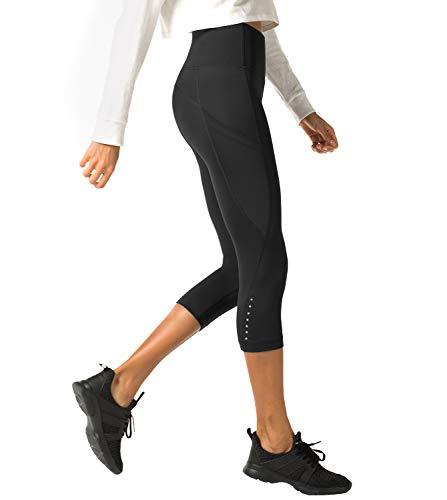 LAPASA Donna 3/4 Capri Leggings Sportivi Con Tasche Laterali Pantaloni Per Yoga Allenamento Palestra (Medium, 01.Nero super opaco(Tasche laterali))