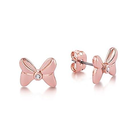 Disney Couture Minnie Maus Rocks Rose Vergoldet Kristall Schleife Ohrstecker