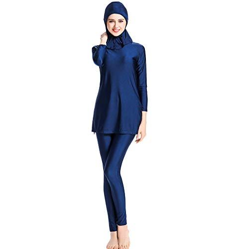 TEBAISE Muslimischen Vollkörper Badeanzug Wassersport Damen 2019 Sommer Neu Muslim Islamischen Bescheidene Badebekleidung Swimwear Beachwear Burkini Wetsuit Oberteil und Hose mit Hijab für Ramadan