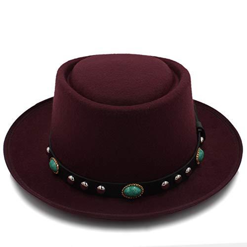 Peng-Hat Fedora-Mütze aus Filz, für Porkpie, Unisex, klassisch, mit kurzem Krempe, breite Krempe, Schwarz, weinrot, 55-58 cm (Filz Derbyhut Schwarzen)