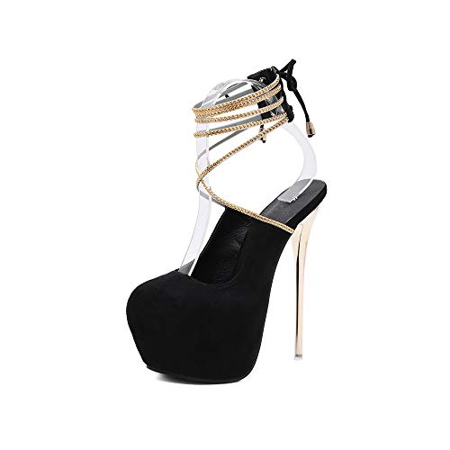 WJFGGXHK Ultra High Heels Sommerschuhe Damen Cross-Tied Slingback Plateau Wedge Gold Heeled Damen Pumps Club Party Lady Schuhe Heeled Slingback