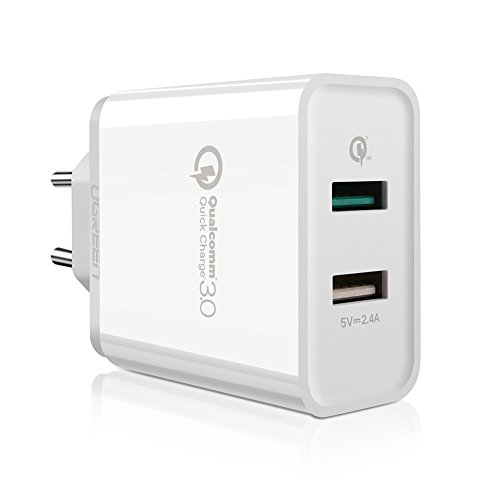 UGREEN Quick Charge 3.0 Caricabatterie da Muro 30W 2 Porte Caricatore USB da Muro QC 3.0 e 5V 2.4A e QiPower, Retrocompatibile con QC 2.0, QC 1.0 per iPhone, iPad, Samsung Galaxy, HTC, Huawei, Sony, Asus, ecc. Bianco