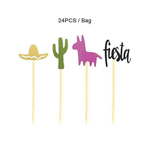 KinshopS 24 / Packung mexikanischen Karneval Thema Party Dekorieren Kuchen einfügen Kaktus Alpaka Fiesta Hut