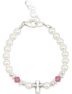 Weiß und Pink Infant Taufe Armband