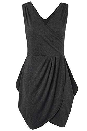 Womens Kragen Damen V Rschen von Wickeldesign gekreuzt Tunika Detail Tulpenform Mini Kleid Abendkleid Groe Gre, Anthrazit, S/M (UK 8/10) -