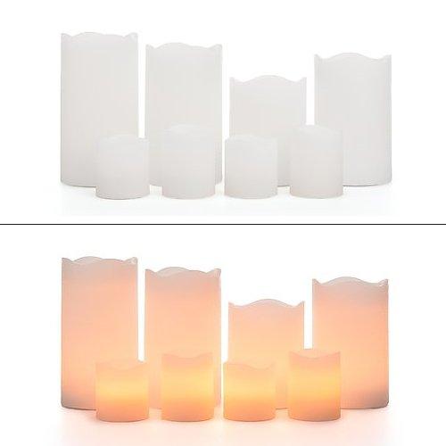 8 LED Echtwachskerzen mit Timer Funktion - 4 Stumpenkerzen & 4 Votikerzen - mehrere Farben wählbar (Weiß)