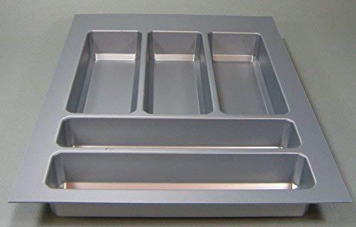 Sagero Besteckeinsatz Teck Besteckkasten Kürzbar Schubladeneinsatz Grau *44572 (45 cm)