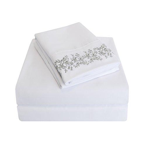 Impressions knitterfrei 3000Serie Floral Spitze bestickt, Tabelle Set, weiß/grau, Twin XL