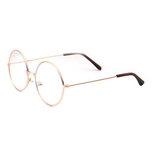 Junkai Mädchen Junge Brillen - Rund Retro Stil Brille Metall Brillenfassung Transparente Linsen Lesen Gläser für Baby Kinder Unisex