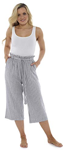 Streifen-rüschen-bluse (CityComfort Damen Papiertüte Taille 3/4 Lange Sommerhose aus Leinen   Ferien Outfit für Frauen   Trendy hohe Taille mit Falten umgeschnallt (38, grau Streifen))