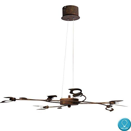 Blätter Design Decken Pendel Lampe Wohn Zimmer Hänge Leuchte rost im Set inkl. LED Leuchtmittel