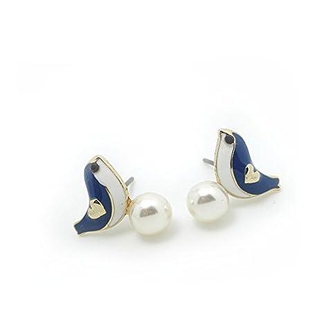 Meilliwish Bird Pearl Women Girls Earrings(F20)(Blue)