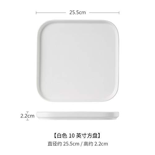 atte Steak Europäischen Stil Platte Quadratische Platte Obstsalatteller Haushaltsgeschirr Ins Kurze Seite Quadratische Platte 10 Zoll Weiß ()
