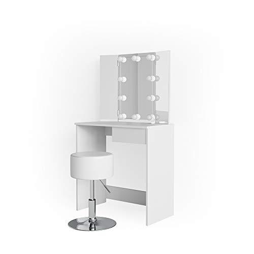 Vicco LED Schminktisch Olivia Weiß Kosmetiktisch Inklusive Hocker Frisierkommode Frisiertisch Eck Spiegel