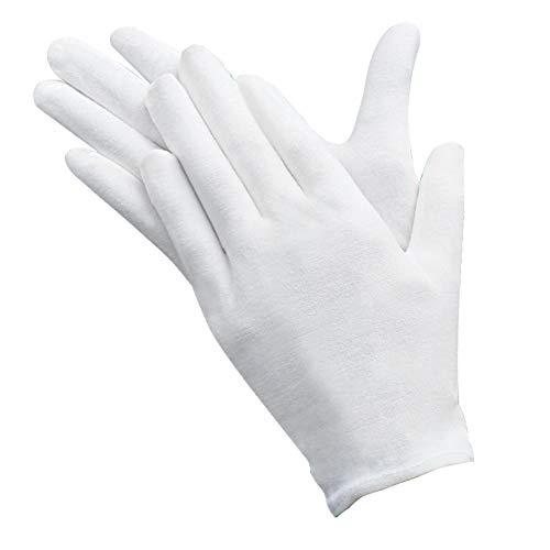 12 Paires de Gant blanc coton blancs Gants de tissu en coton Gants Hydratants, Doux, élastiques, Pour le travail - Gants d'inspection de pièces de monnaie, bijoux, argent, de taille moyenne